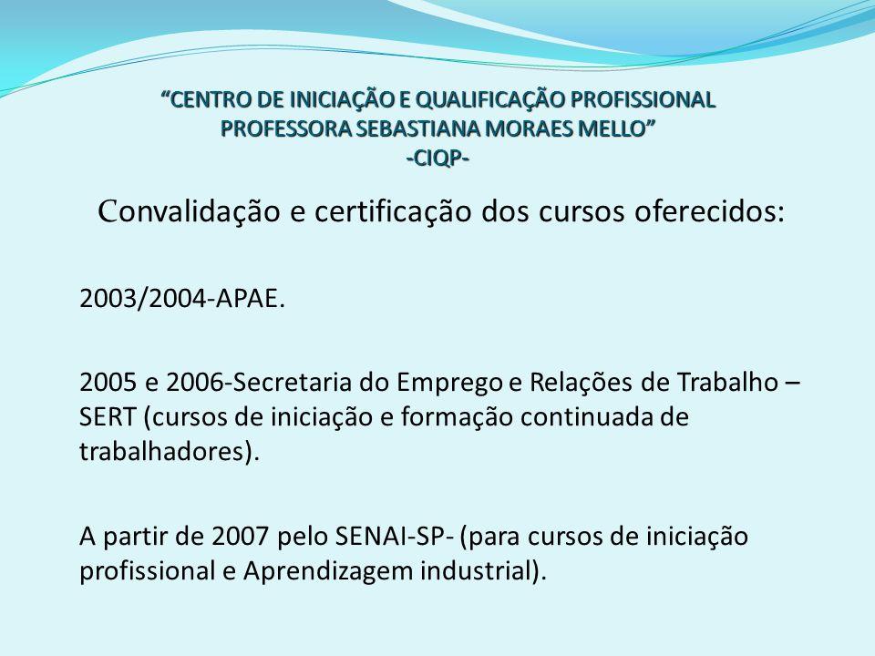 Convalidação e certificação dos cursos oferecidos: