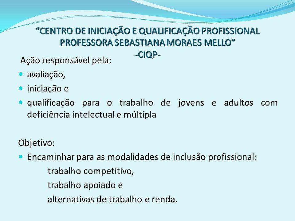 CENTRO DE INICIAÇÃO E QUALIFICAÇÃO PROFISSIONAL PROFESSORA SEBASTIANA MORAES MELLO -CIQP-