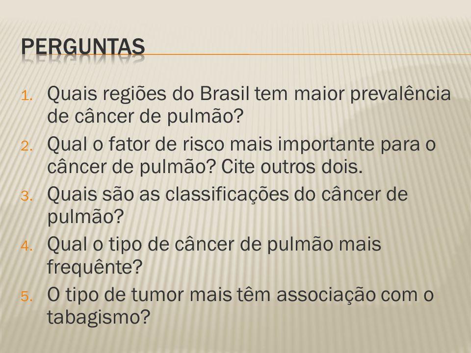 Perguntas Quais regiões do Brasil tem maior prevalência de câncer de pulmão