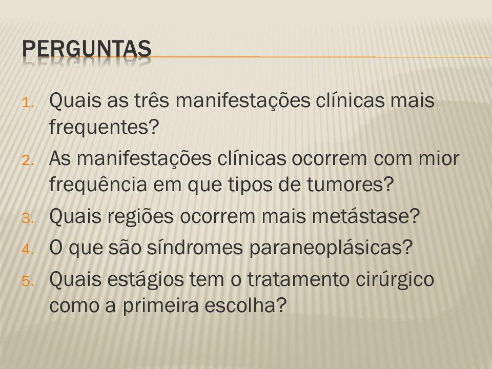 perguntas Quais as três manifestações clínicas mais frequentes