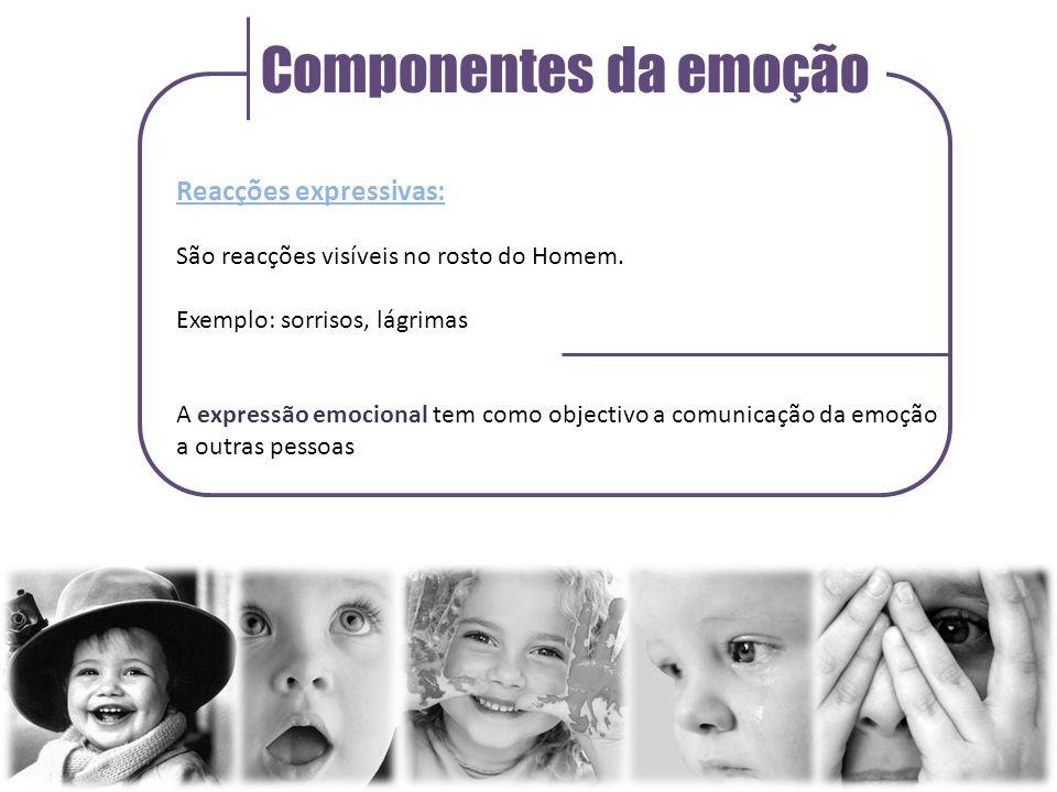 Componentes da emoção Reacções expressivas: