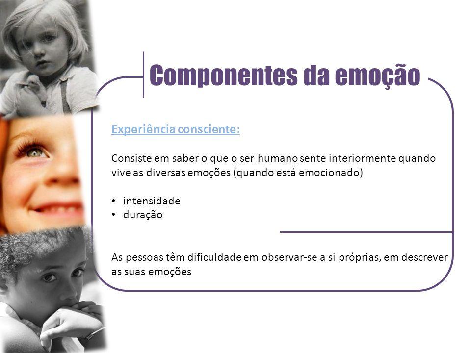 Componentes da emoção Experiência consciente: