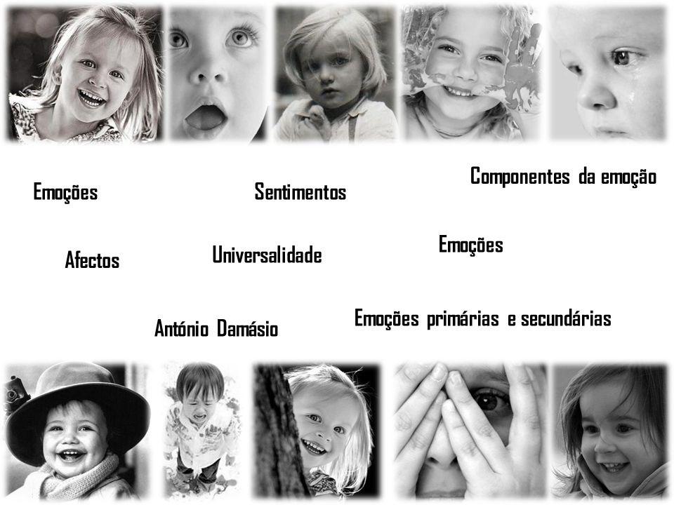 Componentes da emoção Emoções. Sentimentos. Emoções. Universalidade. Afectos. Emoções primárias e secundárias.