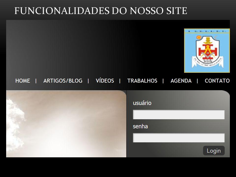 Funcionalidades do nosso Site
