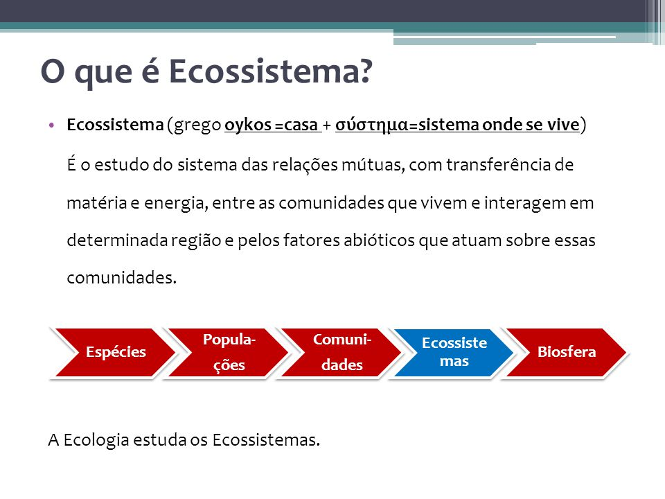 O que é Ecossistema Ecossistema (grego oykos =casa + σύστημα=sistema onde se vive)