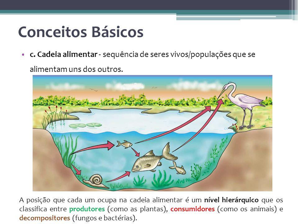 Conceitos Básicos c. Cadeia alimentar - sequência de seres vivos/populações que se alimentam uns dos outros.