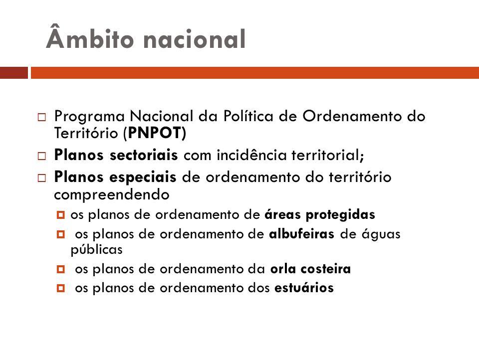 Âmbito nacional Programa Nacional da Política de Ordenamento do Território (PNPOT) Planos sectoriais com incidência territorial;
