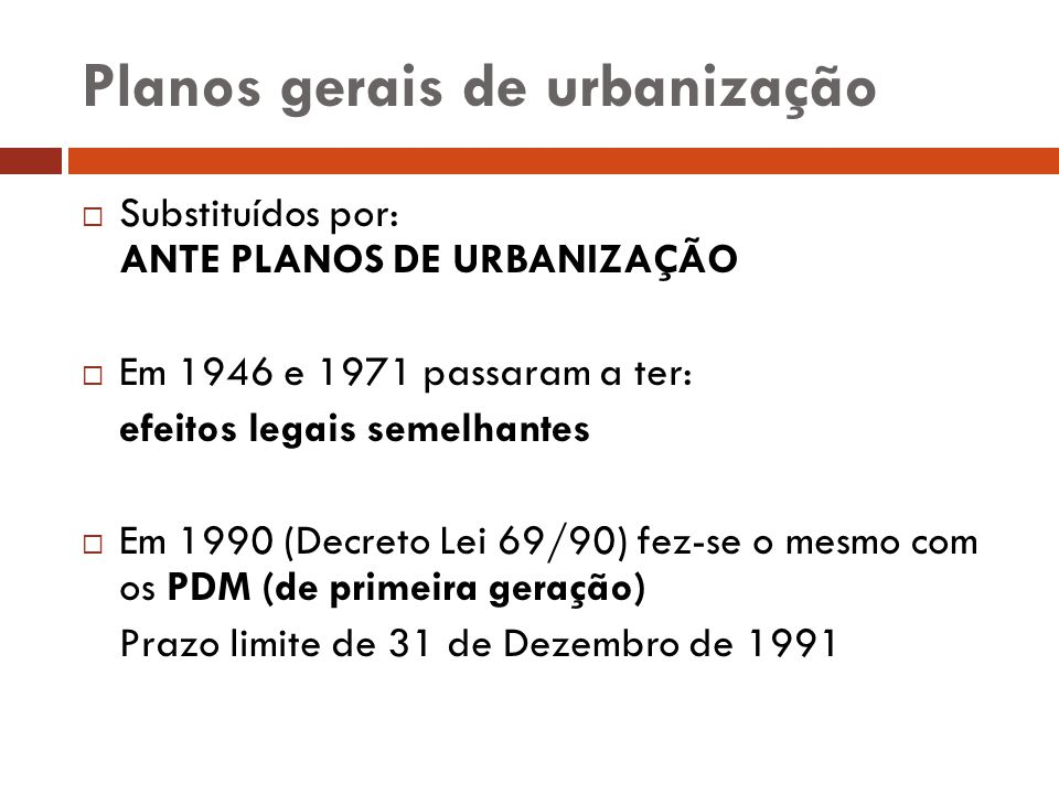 Planos gerais de urbanização