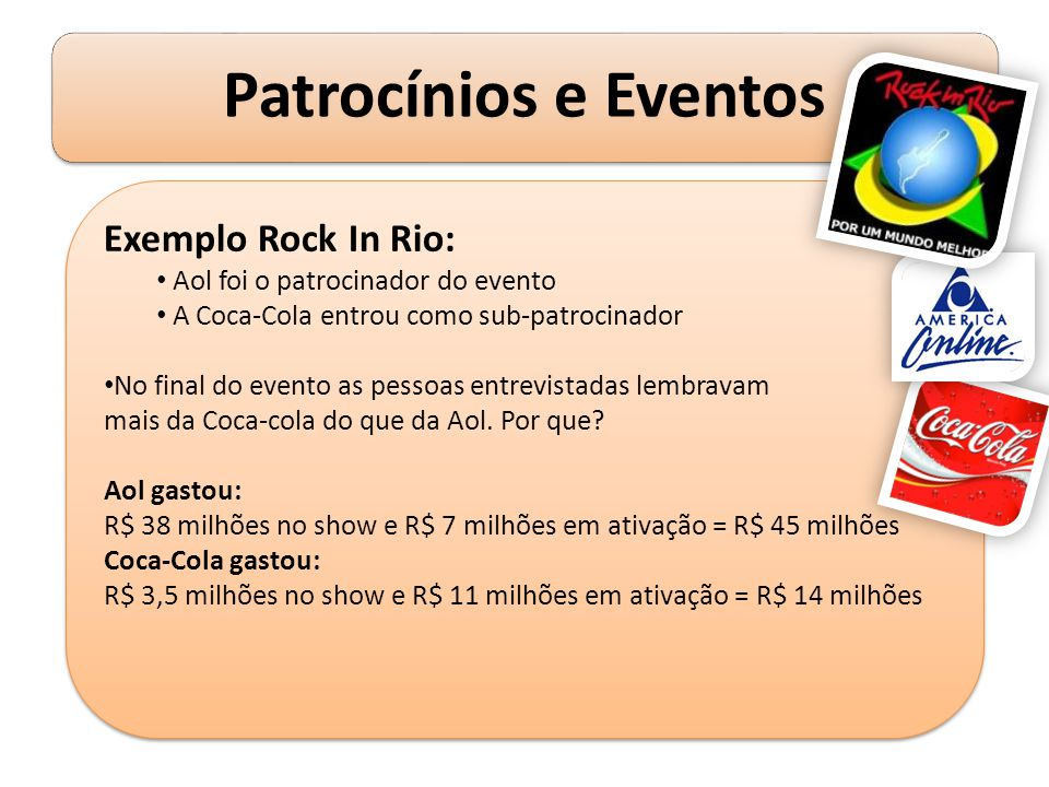 Exemplo Rock In Rio: Aol foi o patrocinador do evento