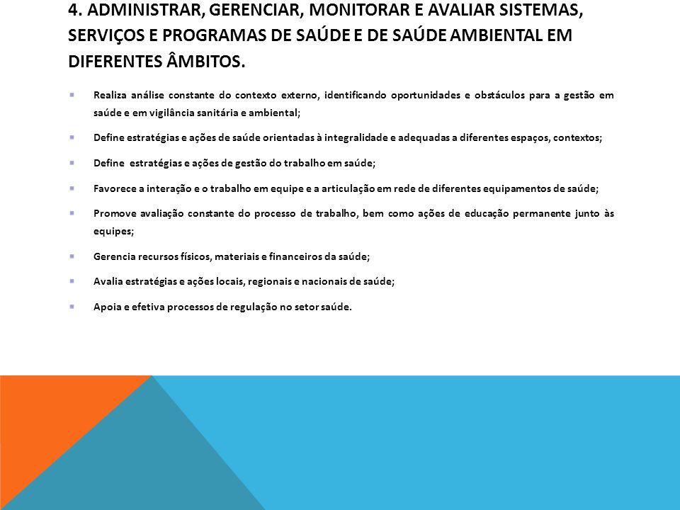 4. Administrar, gerenciar, monitorar e avaliar sistemas, serviços e programas de saúde e de saúde ambiental em diferentes âmbitos.