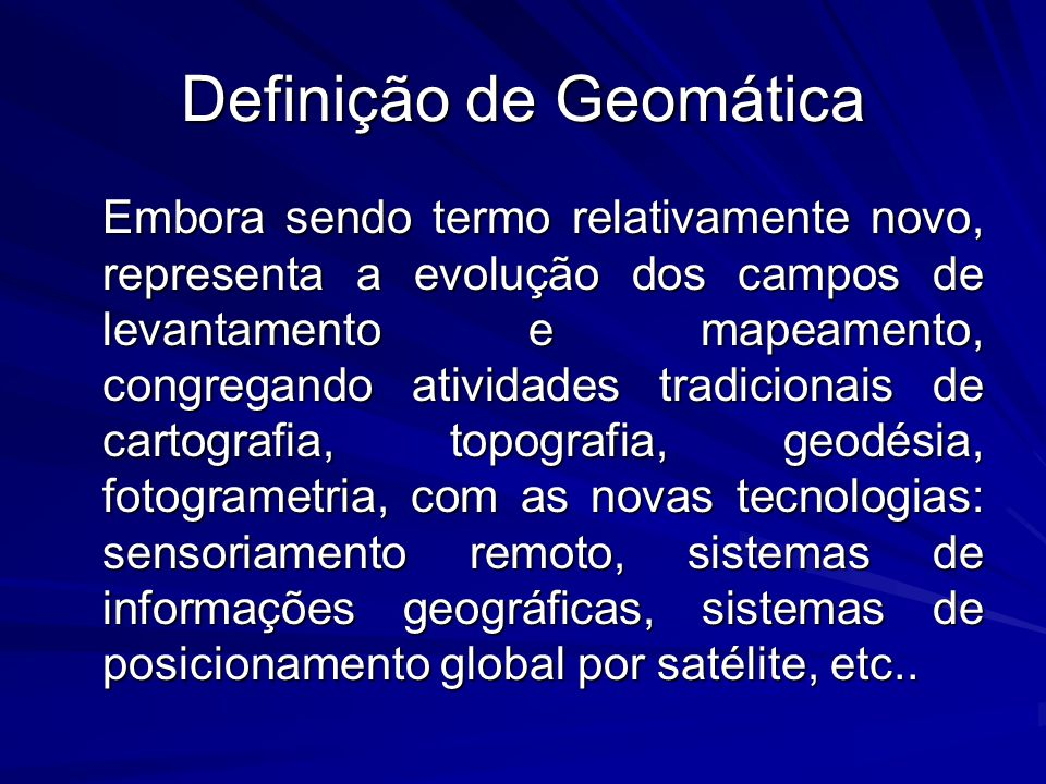 Definição de Geomática