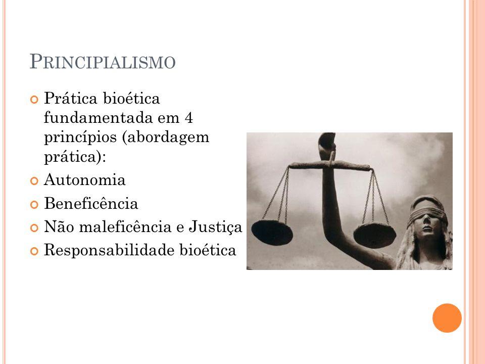 Principialismo Prática bioética fundamentada em 4 princípios (abordagem prática): Autonomia. Beneficência.