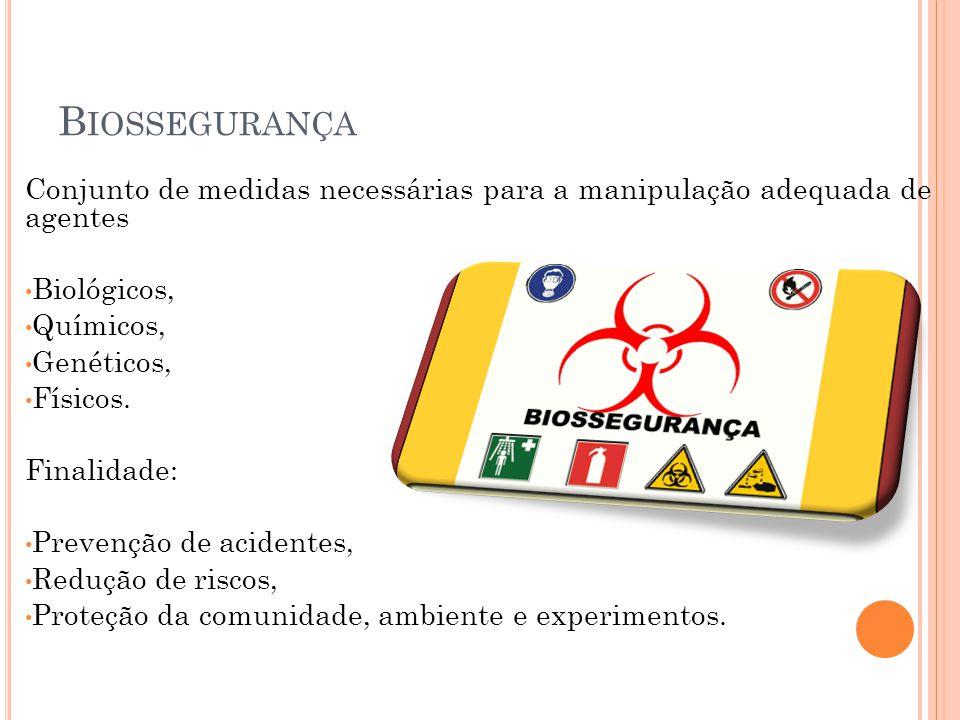 Biossegurança Conjunto de medidas necessárias para a manipulação adequada de agentes. Biológicos,