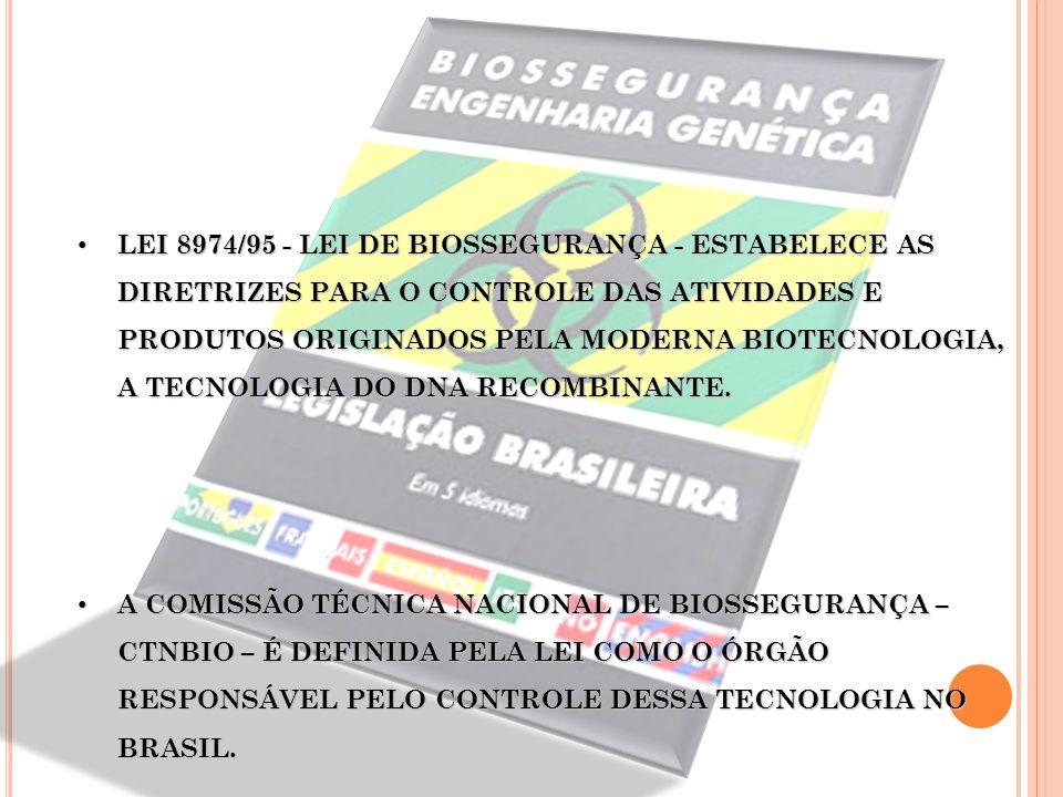 LEI 8974/95 - LEI DE BIOSSEGURANÇA - ESTABELECE AS DIRETRIZES PARA O CONTROLE DAS ATIVIDADES E PRODUTOS ORIGINADOS PELA MODERNA BIOTECNOLOGIA, A TECNOLOGIA DO DNA RECOMBINANTE.