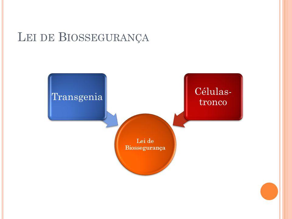 Lei de Biossegurança Lei de Biossegurança Transgenia Células-tronco