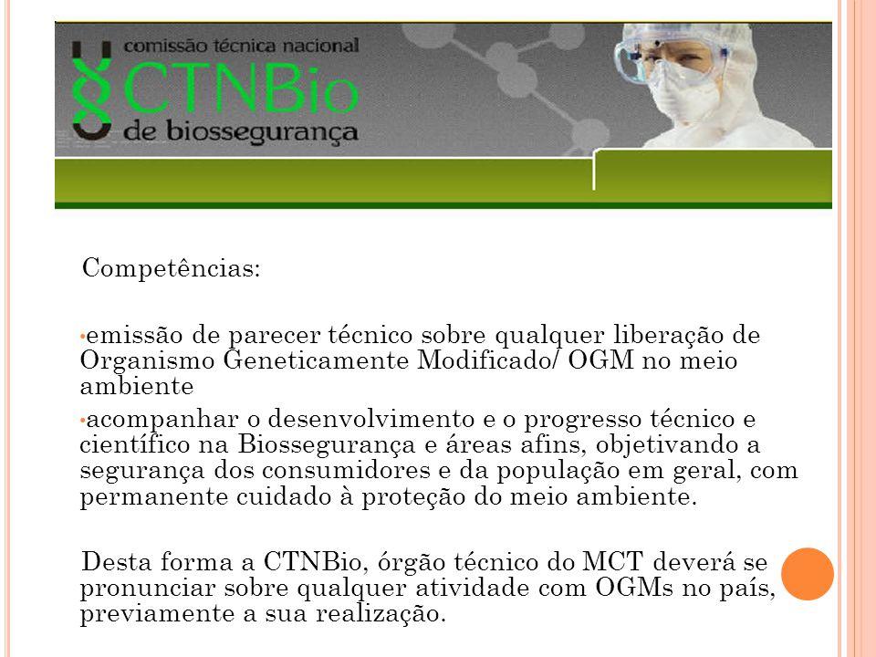 Competências: emissão de parecer técnico sobre qualquer liberação de Organismo Geneticamente Modificado/ OGM no meio ambiente.