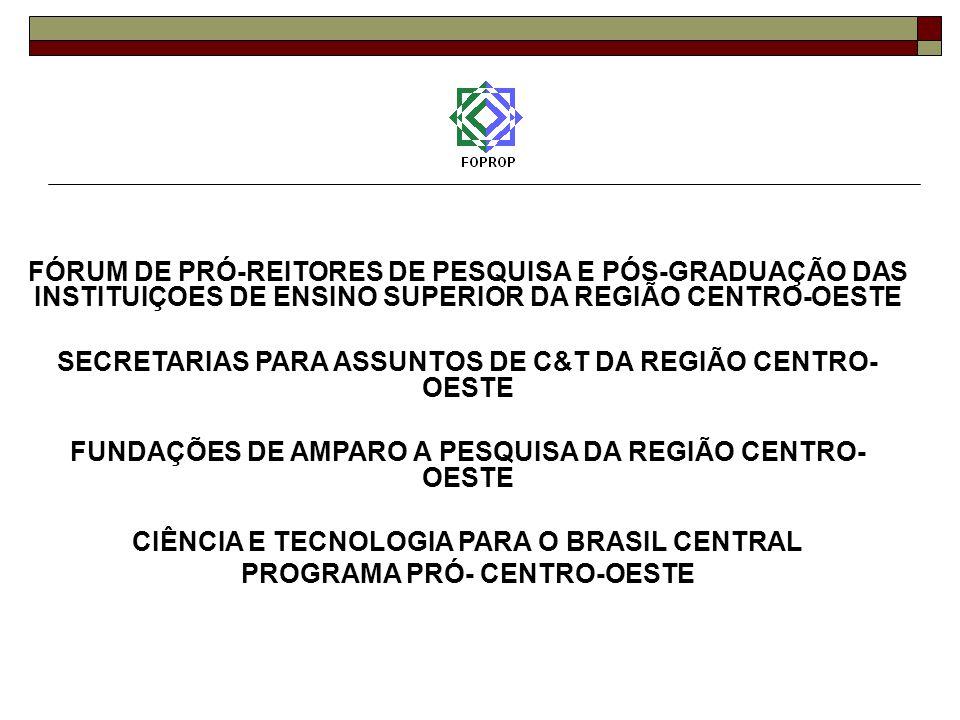 SECRETARIAS PARA ASSUNTOS DE C&T DA REGIÃO CENTRO- OESTE