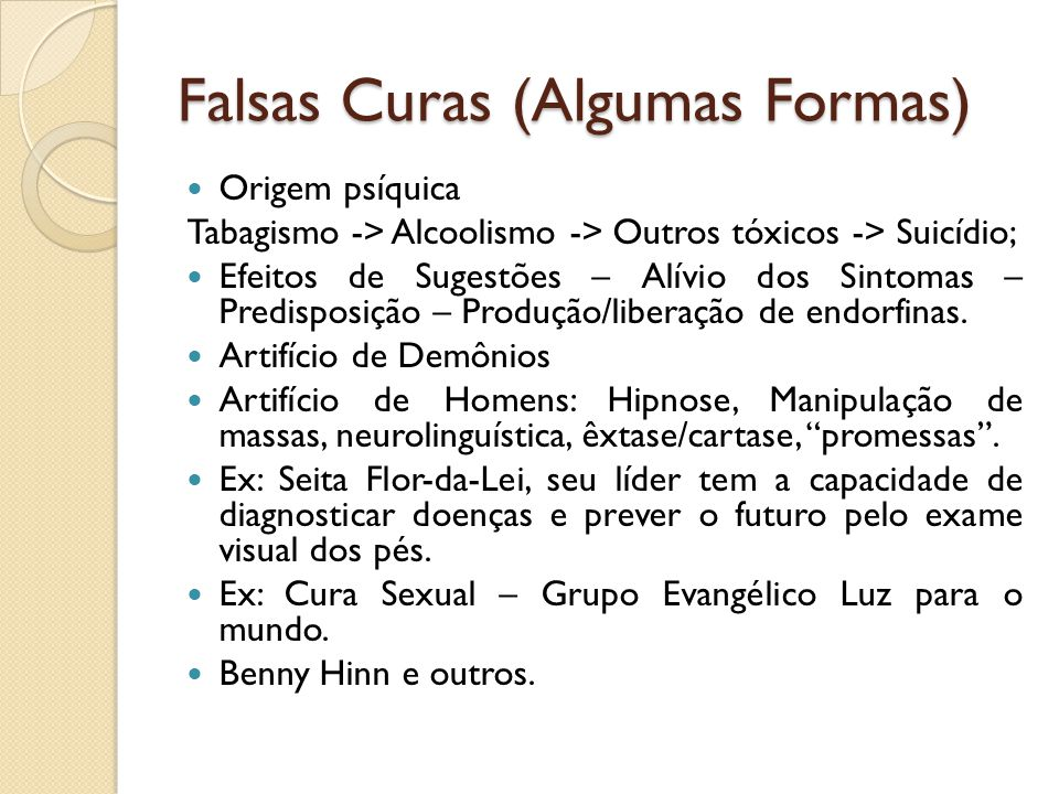 Falsas Curas (Algumas Formas)