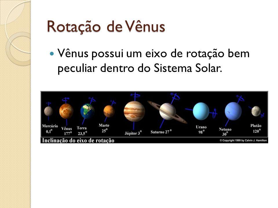 Rotação de Vênus Vênus possui um eixo de rotação bem peculiar dentro do Sistema Solar.