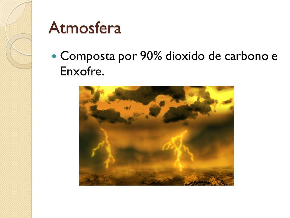 Atmosfera Composta por 90% dioxido de carbono e Enxofre.