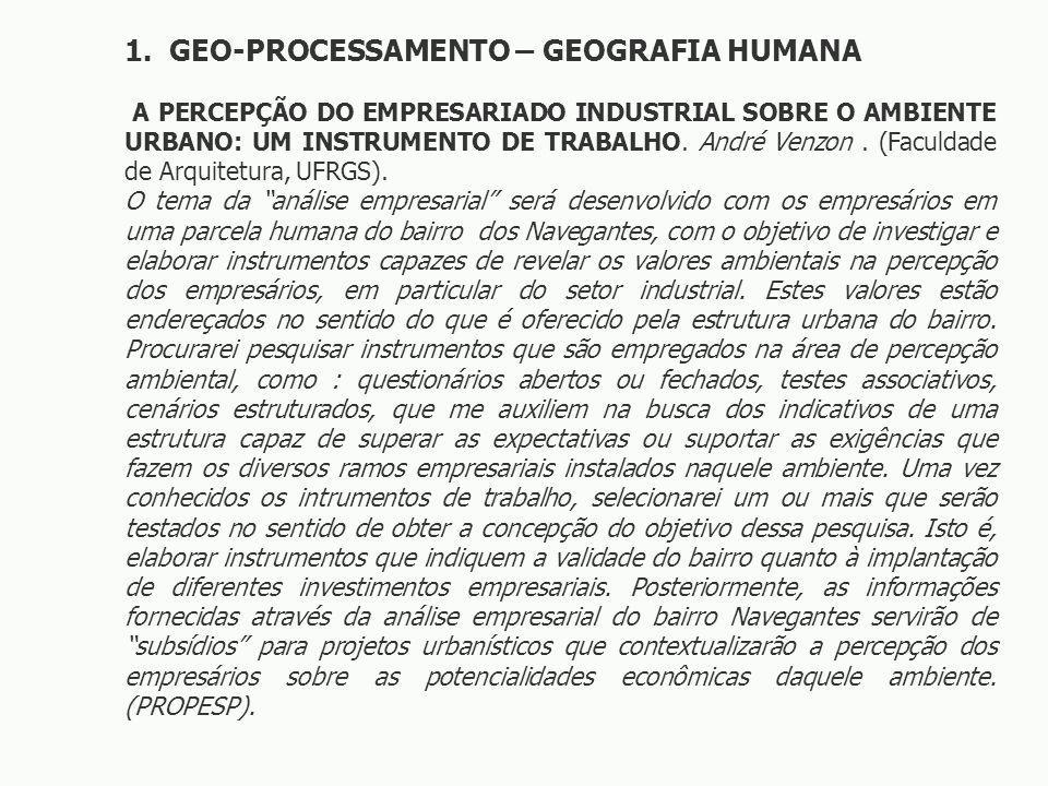 1. GEO-PROCESSAMENTO – GEOGRAFIA HUMANA