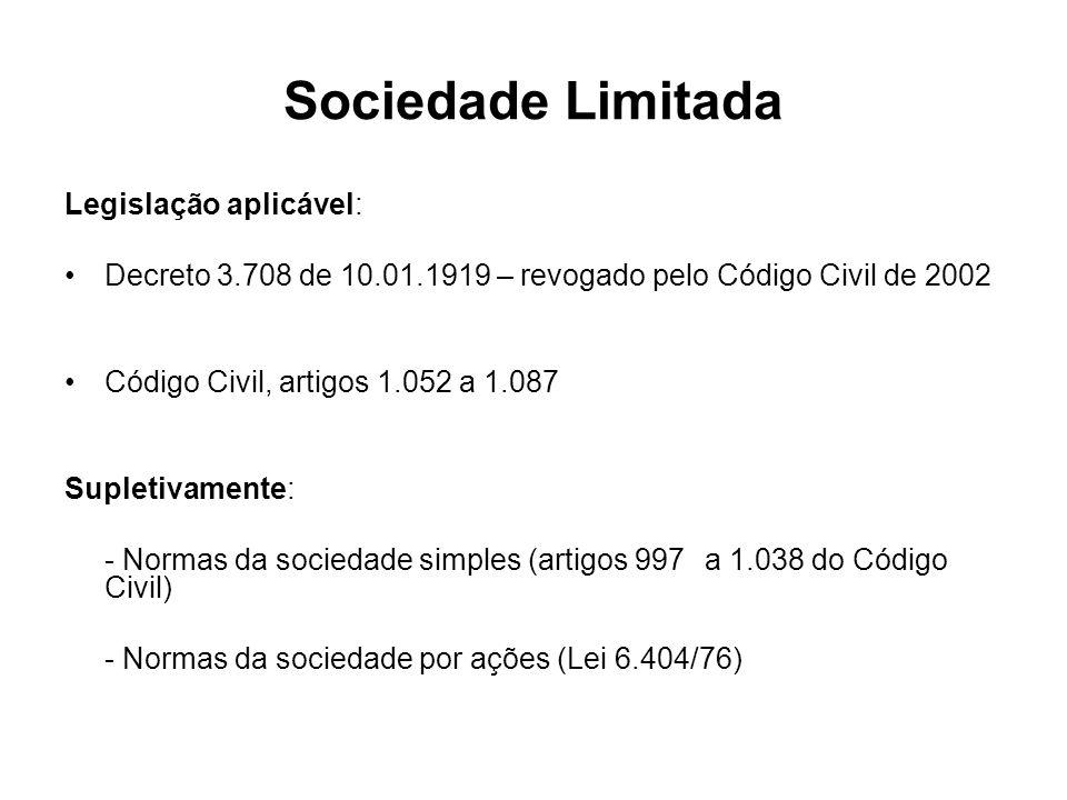 Sociedade Limitada Legislação aplicável:
