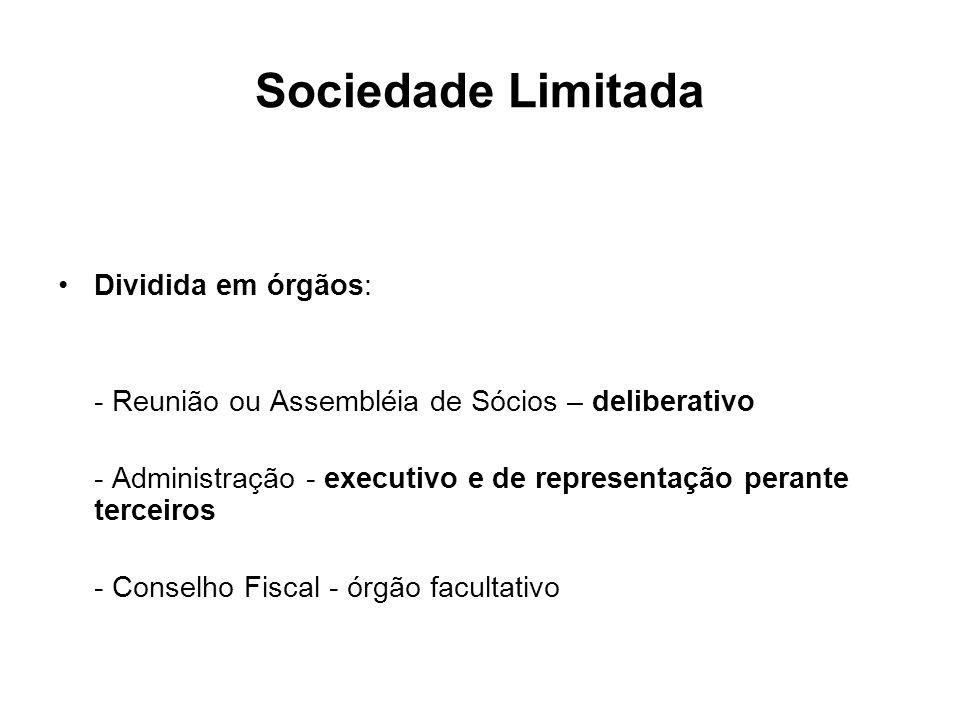 Sociedade Limitada Dividida em órgãos: