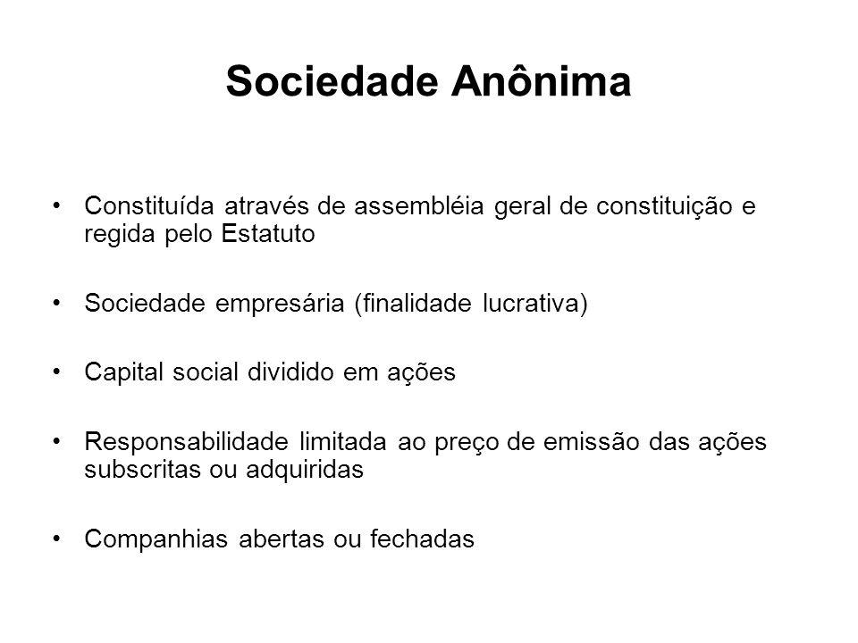 Sociedade Anônima Constituída através de assembléia geral de constituição e regida pelo Estatuto. Sociedade empresária (finalidade lucrativa)