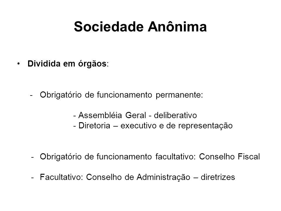 Sociedade Anônima Dividida em órgãos: