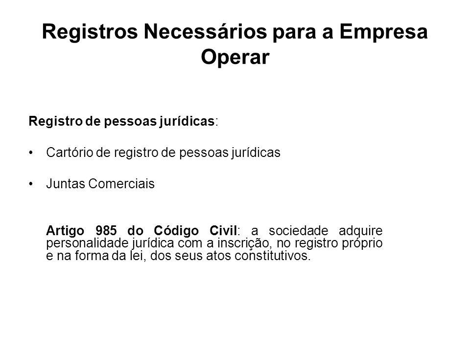 Registros Necessários para a Empresa Operar