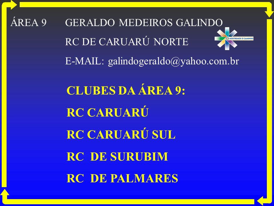 CLUBES DA ÁREA 9: RC CARUARÚ RC CARUARÚ SUL RC DE SURUBIM