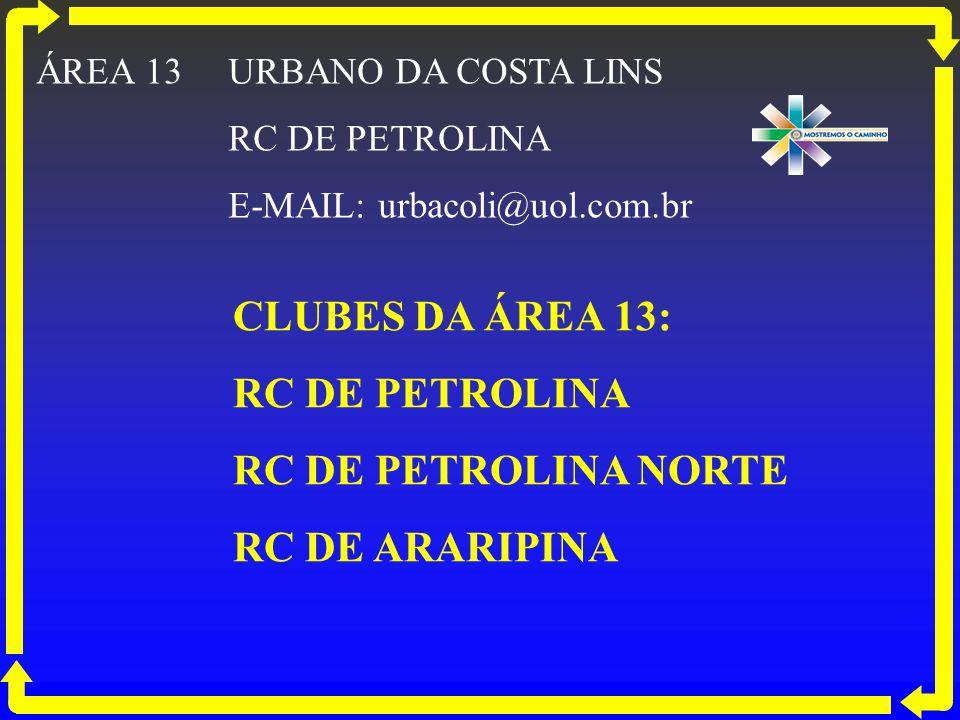 CLUBES DA ÁREA 13: RC DE PETROLINA RC DE PETROLINA NORTE