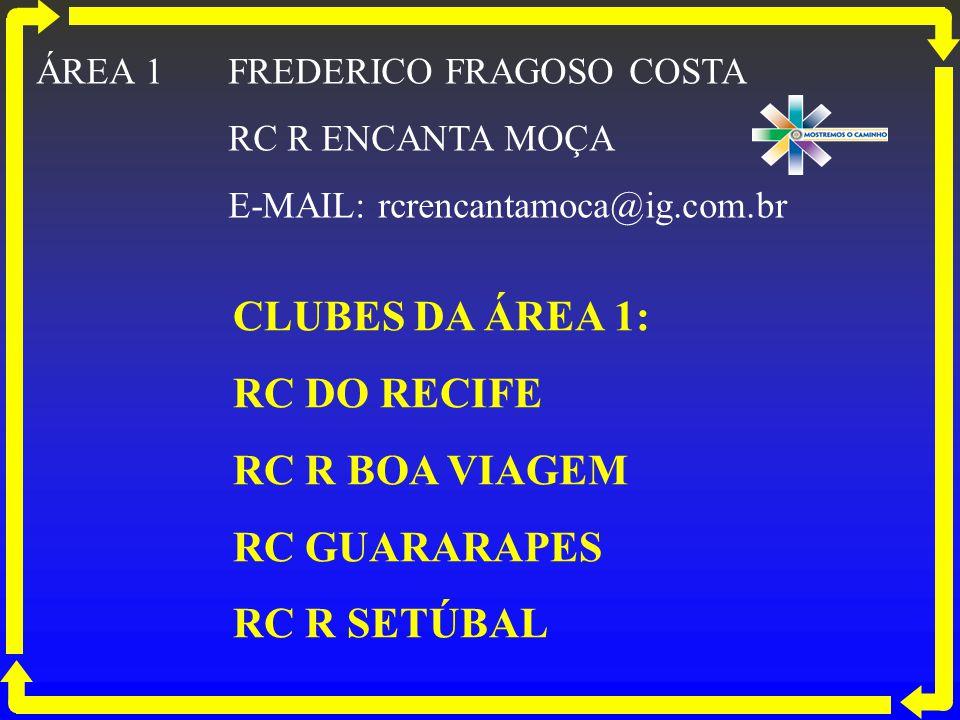 CLUBES DA ÁREA 1: RC DO RECIFE RC R BOA VIAGEM RC GUARARAPES