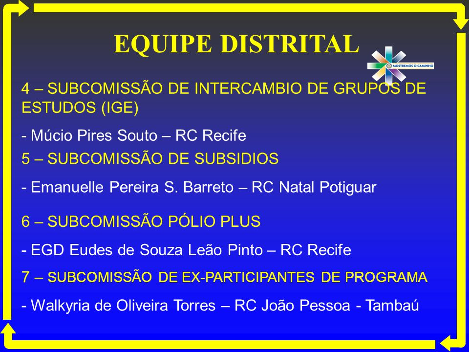 EQUIPE DISTRITAL 4 – SUBCOMISSÃO DE INTERCAMBIO DE GRUPOS DE ESTUDOS (IGE) - Múcio Pires Souto – RC Recife.