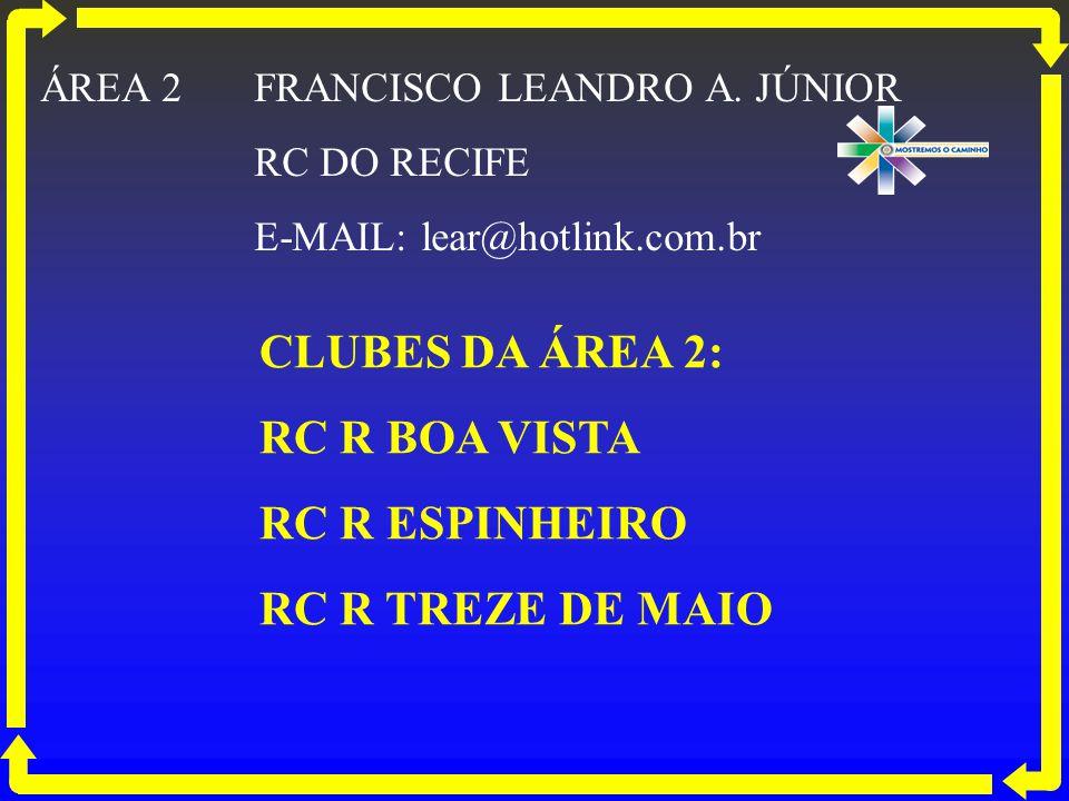 CLUBES DA ÁREA 2: RC R BOA VISTA RC R ESPINHEIRO RC R TREZE DE MAIO