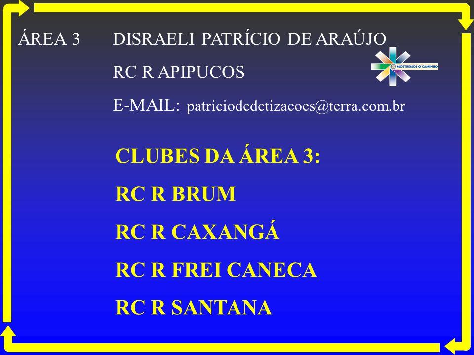CLUBES DA ÁREA 3: RC R BRUM RC R CAXANGÁ RC R FREI CANECA RC R SANTANA