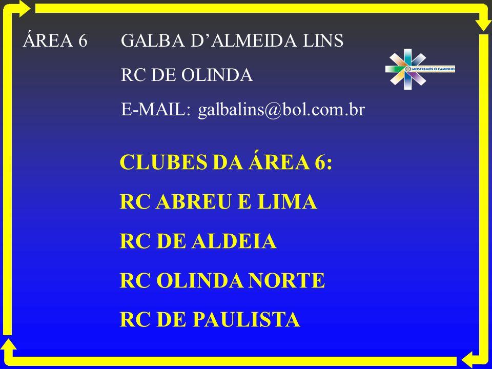 CLUBES DA ÁREA 6: RC ABREU E LIMA RC DE ALDEIA RC OLINDA NORTE