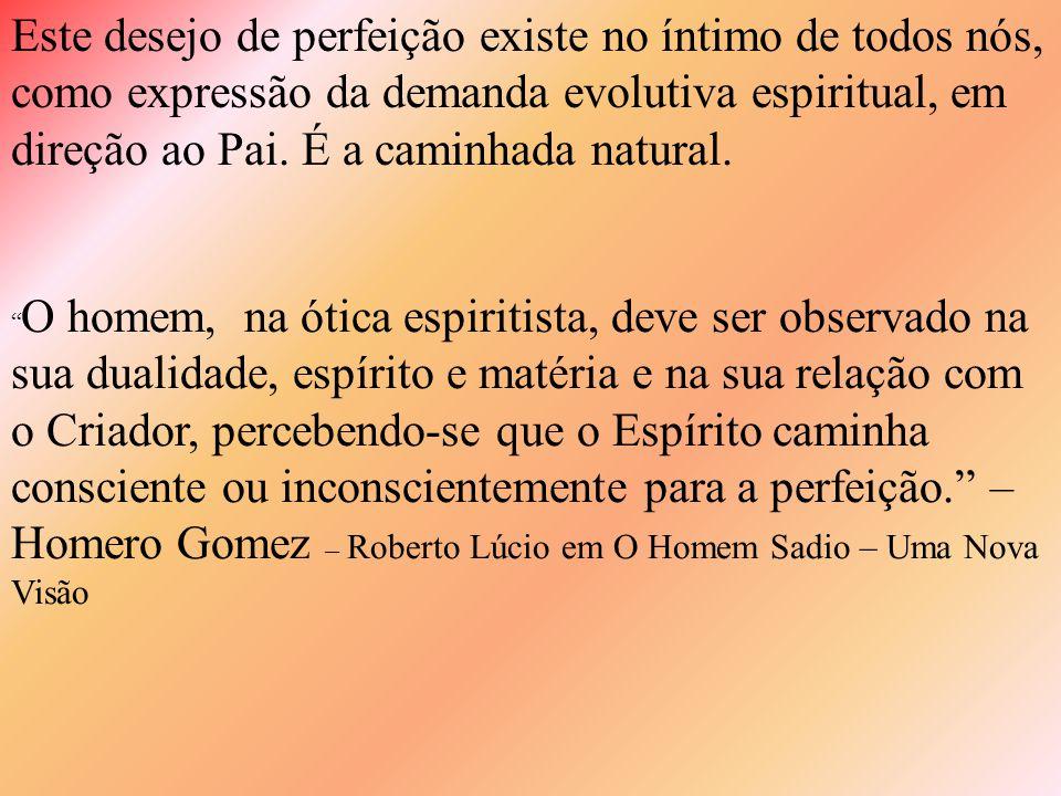 Este desejo de perfeição existe no íntimo de todos nós, como expressão da demanda evolutiva espiritual, em direção ao Pai. É a caminhada natural.