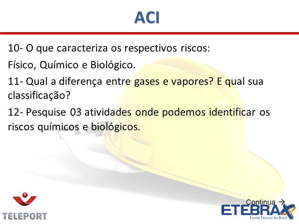 ACI 10- O que caracteriza os respectivos riscos: