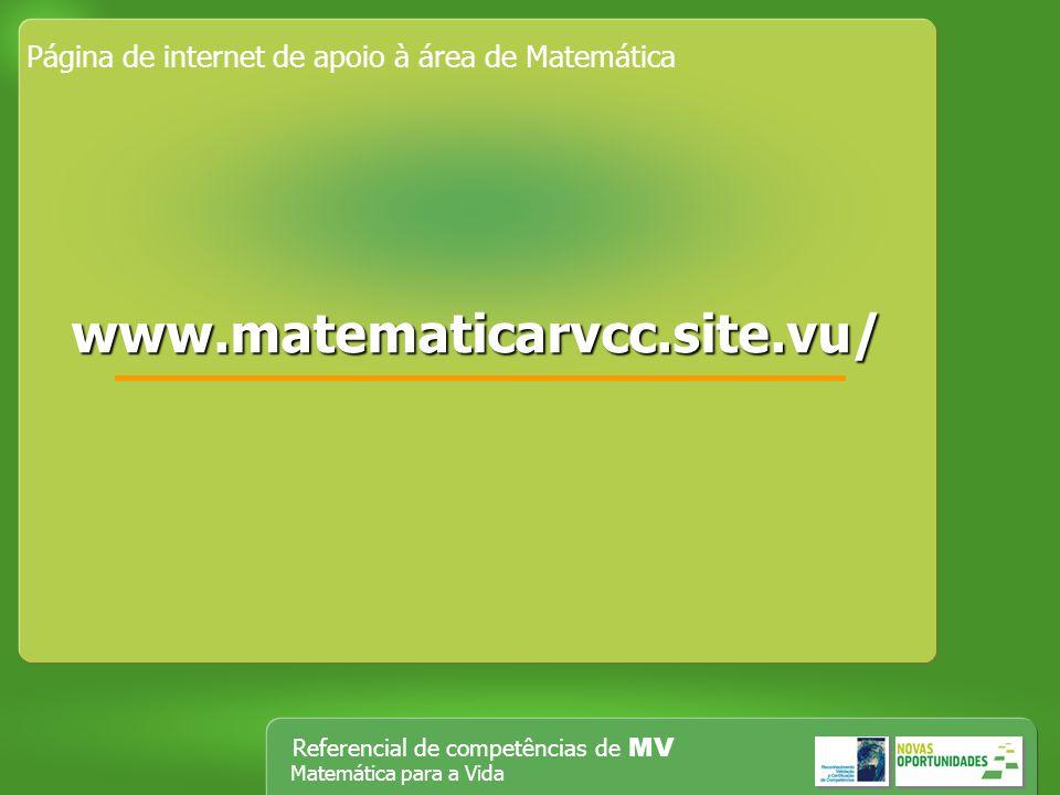 Página de internet de apoio à área de Matemática
