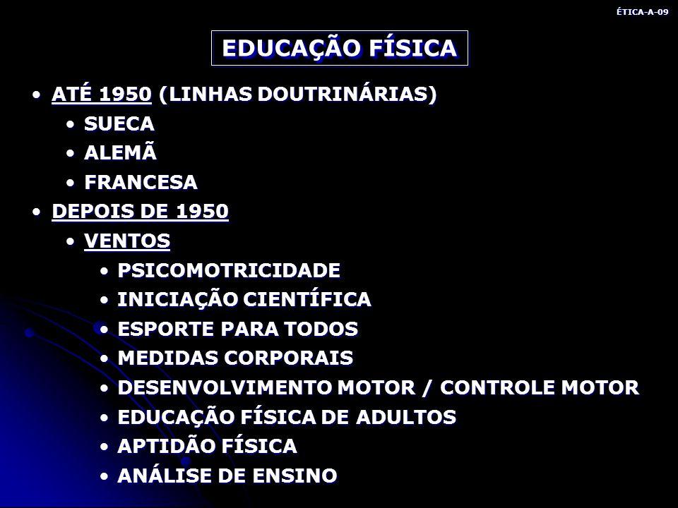 EDUCAÇÃO FÍSICA ATÉ 1950 (LINHAS DOUTRINÁRIAS) SUECA ALEMÃ FRANCESA