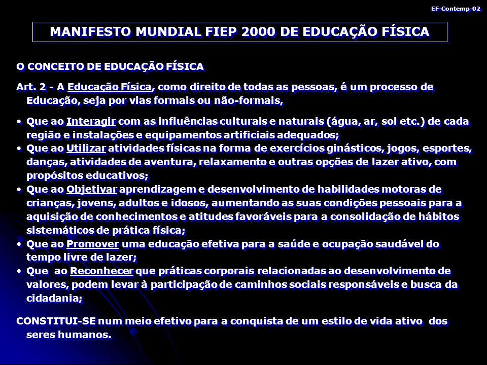 MANIFESTO MUNDIAL FIEP 2000 DE EDUCAÇÃO FÍSICA