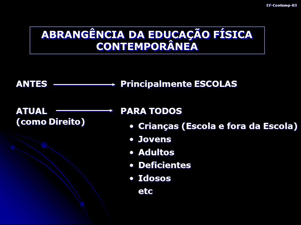 ABRANGÊNCIA DA EDUCAÇÃO FÍSICA CONTEMPORÂNEA
