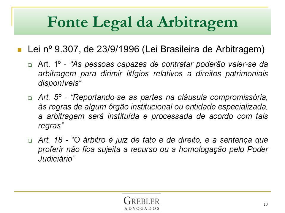 Fonte Legal da Arbitragem