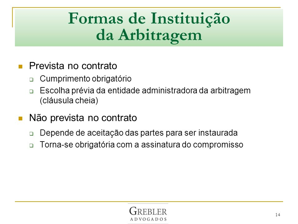 Formas de Instituição da Arbitragem