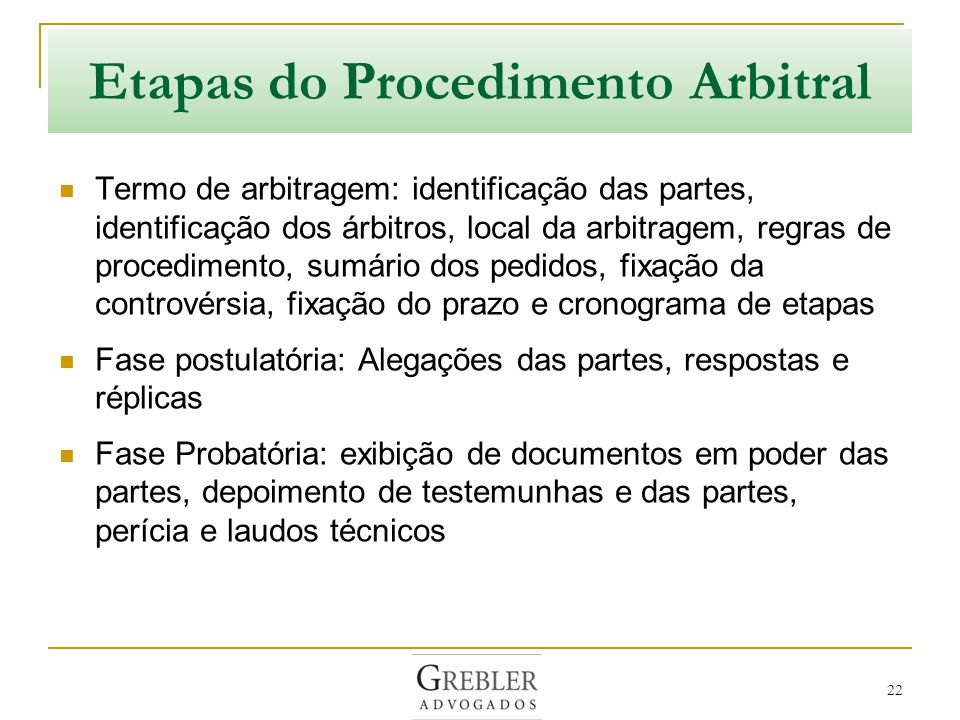 Etapas do Procedimento Arbitral