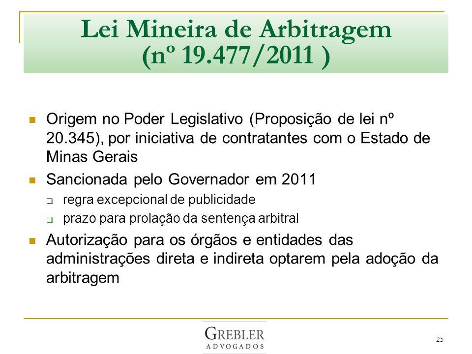 Lei Mineira de Arbitragem (nº 19.477/2011 )