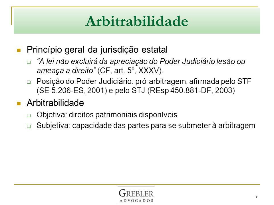 Arbitrabilidade Princípio geral da jurisdição estatal Arbitrabilidade