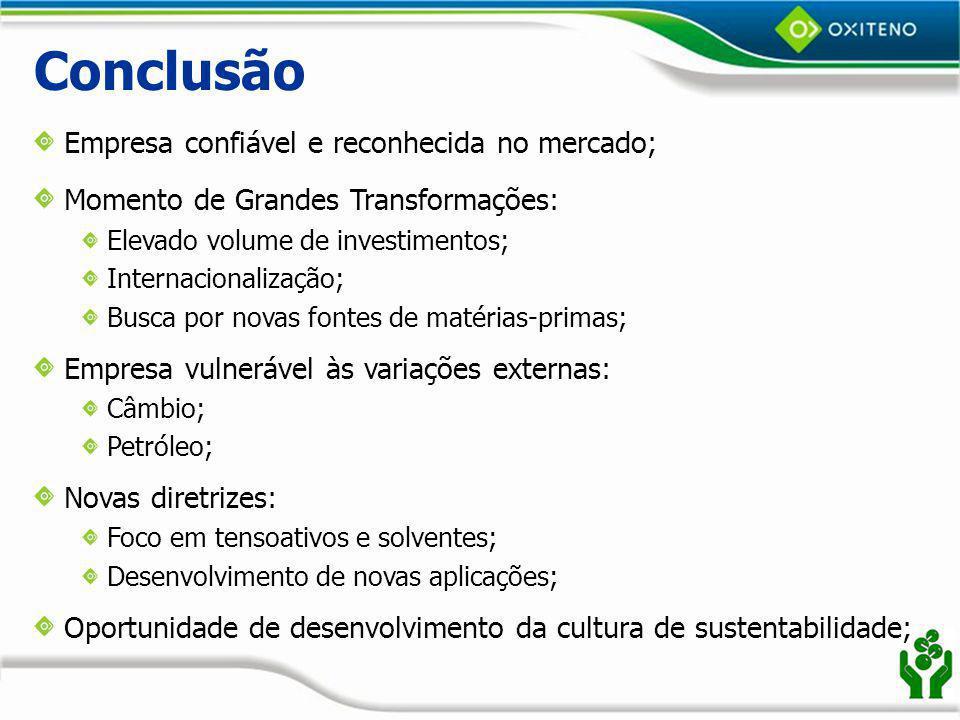 Conclusão Empresa confiável e reconhecida no mercado;