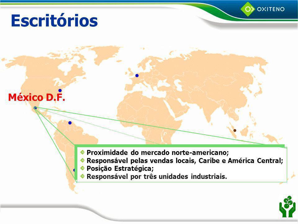 Escritórios México D.F. Proximidade do mercado norte-americano;